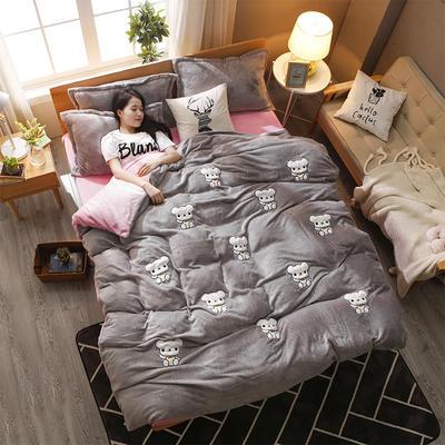 2018新品贴布绣法莱绒四件套 1.8m(6英尺)床 帕丁顿熊灰粉