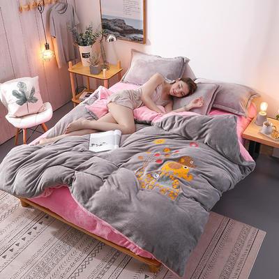 2018新品毛巾绣法莱绒四件套 1.5m(5英尺)床 浪漫小象-灰粉