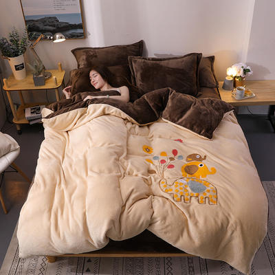 2018新品毛巾绣法莱绒四件套 1.5m(5英尺)床 浪漫小象-驼咖