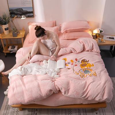 2018新品毛巾绣法莱绒四件套 1.5m(5英尺)床 浪漫小象-玉粉