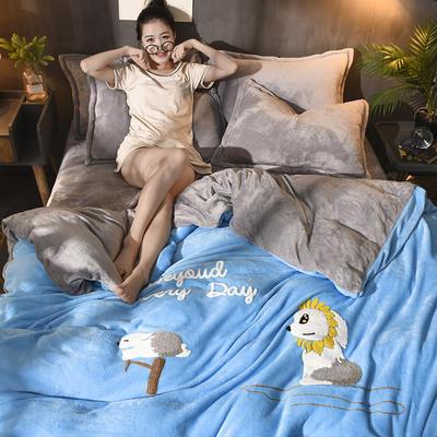2018新品毛巾绣法莱绒四件套 1.5m(5英尺)床 小萌狗-蓝灰色