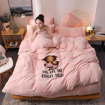2018新品毛巾绣法莱绒四件套 1.5m(5英尺)床 熊宝贝-玉粉