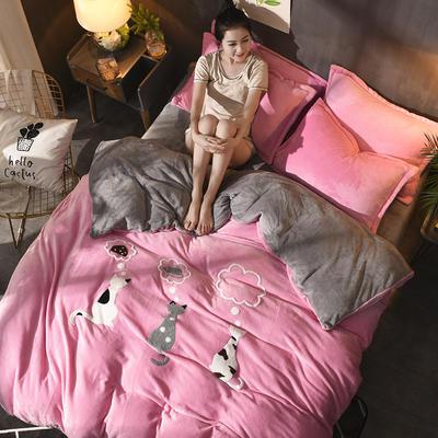 2018新品毛巾绣法莱绒四件套 1.5m(5英尺)床 优雅猫—粉灰色