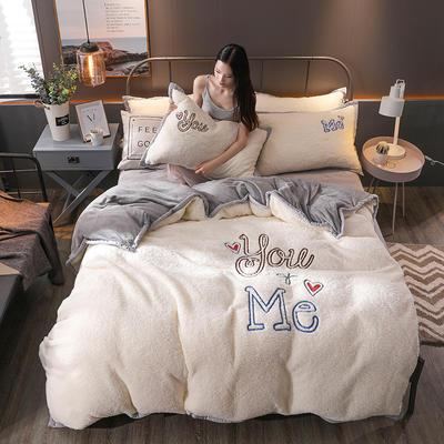 2018新品羊羔绒四件套 1.8m(6英尺)床 我和你-灰