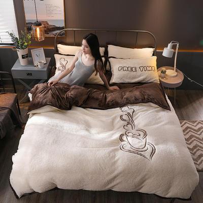 2018新品羊羔绒四件套 1.8m(6英尺)床 休闲时光-深棕