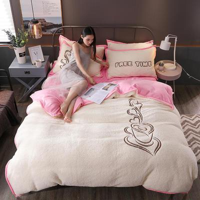 2018新品羊羔绒四件套 1.8m(6英尺)床 休闲时光-玉粉