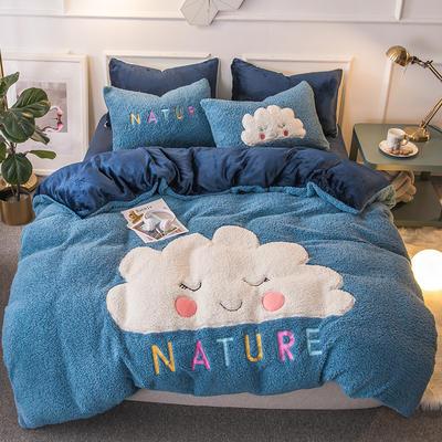 2018羊羔绒6.5斤大版贴布绣四件套 床单款1.8m(6英尺)床 云朵