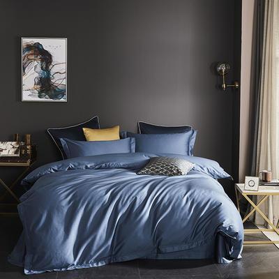 2019新款-60长绒棉四件套(60纯色系列) 1.8m(6英尺)床 纯色 灰兰