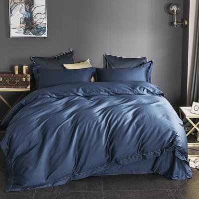 2019新款-60长绒棉四件套(60纯色系列) 1.8m(6英尺)床 纯色 蓝色