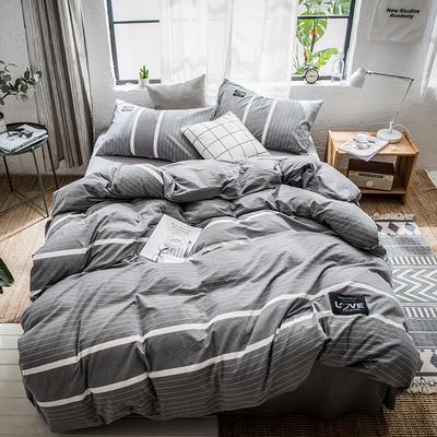 2019春夏新品全棉色织新彩棉四件套 床笠款1.8m(6英尺)床 随性