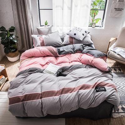 2019春夏新品全棉色织新彩棉四件套 床笠款1.8m(6英尺)床 西西里(灰)