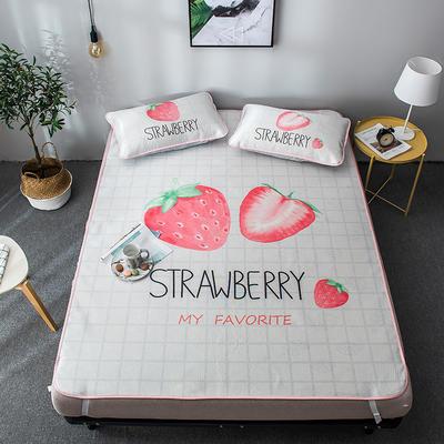 2019新款-大版提花凉感冰丝席 150*200 奶油草莓