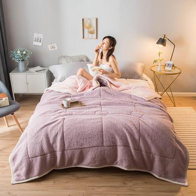 2020新款加厚三层双色羊羔绒牛奶绒保暖盖毯 1.5*2.0 羊羔绒-香芋紫
