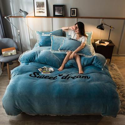 2019新款-ins风毛巾绣双面牛奶绒冬季加厚四件套 床笠款四件套1.8m(6英尺)床 记忆蓝