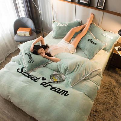 2019新款-ins风毛巾绣双面牛奶绒冬季加厚四件套 床单款四件套1.5m(5英尺)床 抹茶绿