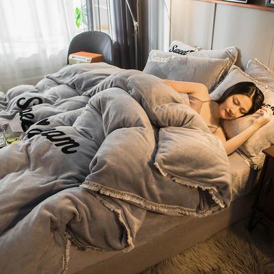 2019新款-ins风毛巾绣双面牛奶绒冬季加厚四件套 床笠款四件套1.8m(6英尺)床 绅士灰