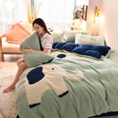 2019升级款8斤多羊羔绒大版贴布绣四件套 床单款1.5m床 大象