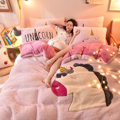 2019升级款8斤多羊羔绒大版贴布绣四件套 床单款1.5m床 独角兽