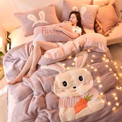 2019升级款8斤多羊羔绒大版贴布绣四件套 床单款1.5m床 可爱兔