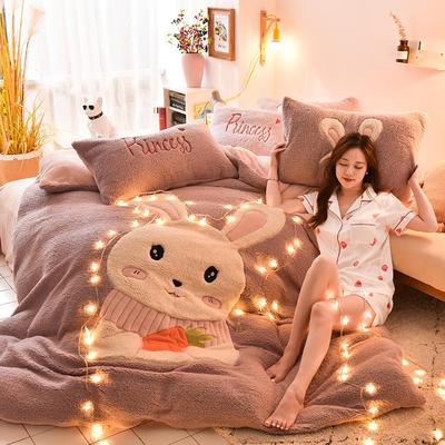 2019升级款8斤多羊羔绒大版贴布绣四件套 床笠款1.8m(6英尺)床 可爱兔