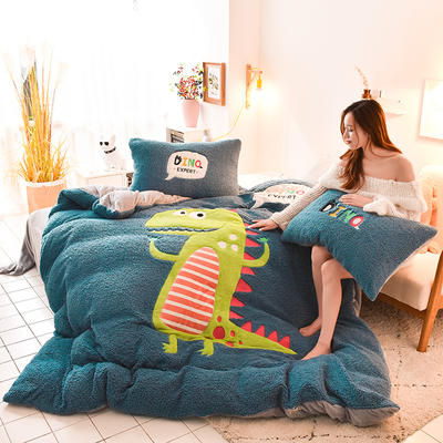 2019升级款8斤多羊羔绒大版贴布绣四件套 床笠款1.8m(6英尺)床 小恐龙