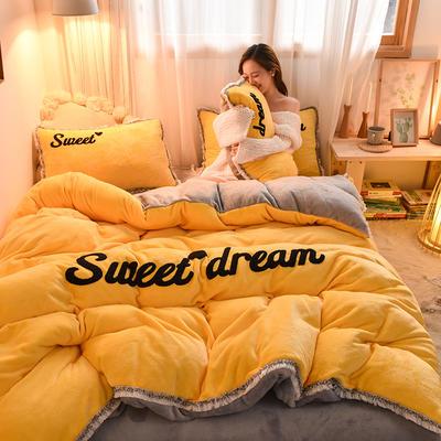 2019新款-ins风毛巾绣双面牛奶绒冬季加厚四件套 床单款四件套1.5m(5英尺)床 姜黄