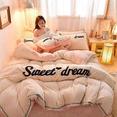 2019新款-ins风毛巾绣双面牛奶绒冬季加厚四件套 床笠款四件套1.8m(6英尺)床 奶白