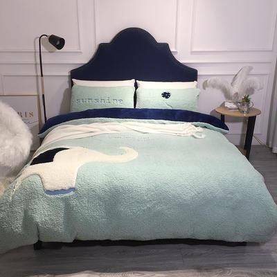 2018羊羔绒6.5斤大版贴布绣四件套 床单款1.8m(6英尺)床 大象