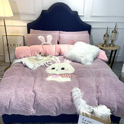 2018羊羔绒6.5斤大版贴布绣四件套 床单款1.8m(6英尺)床 可爱兔