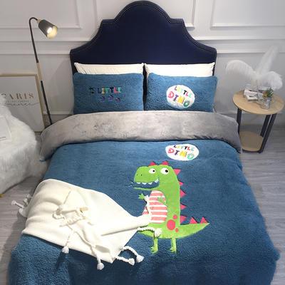 2018羊羔绒6.5斤大版贴布绣四件套 床单款1.8m(6英尺)床 恐龙