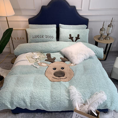 2018羊羔绒6.5斤大版贴布绣四件套 床单款1.8m(6英尺)床 圣诞鹿