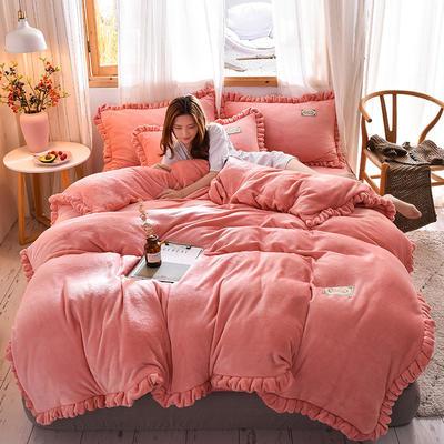 2019新款-韩版百褶花边加厚牛奶绒水晶绒四件套 床笠款四件套1.8m(6英尺)床 百褶花边款-粉色