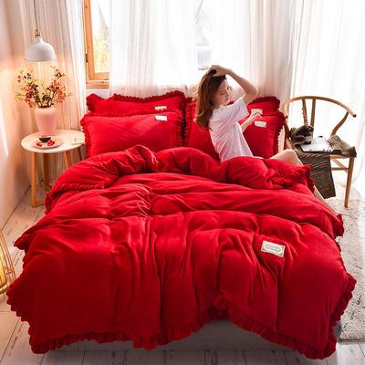 2019新款-韩版百褶花边加厚牛奶绒水晶绒四件套 床笠款四件套1.8m(6英尺)床 百褶花边款-红色