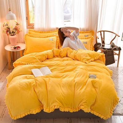 2019新款-韩版百褶花边加厚牛奶绒水晶绒四件套 床笠款四件套1.8m(6英尺)床 百褶花边款-黄色