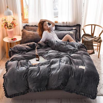 2019新款-韩版百褶花边加厚牛奶绒水晶绒四件套 床笠款四件套1.8m(6英尺)床 百褶花边款-深灰