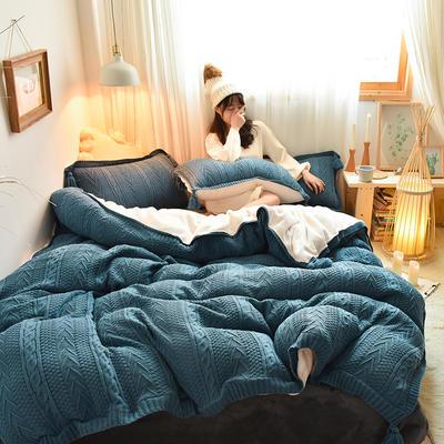 2019新款-亲肤针织毛线羊羔绒四件套 床单款四件套1.5m(5英尺)床 针织款-宝蓝