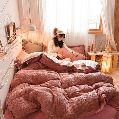 2019新款-亲肤针织毛线羊羔绒四件套 床单款三件套1.2m(4英尺)床 针织款-豆沙