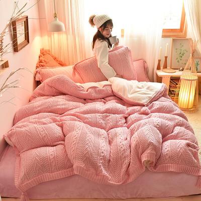 2019新款-亲肤针织毛线羊羔绒四件套 床单款四件套1.5m(5英尺)床 针织款-粉红