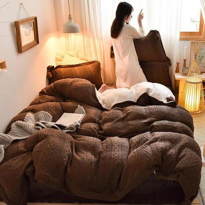 2019新款-亲肤针织毛线羊羔绒四件套 床单款四件套2.0m(6.6英尺)床 针织款-咖啡