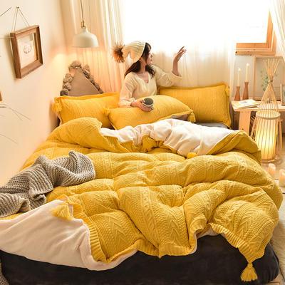 2019新款-亲肤针织毛线羊羔绒四件套 床单款三件套1.2m(4英尺)床 针织款-亮黄
