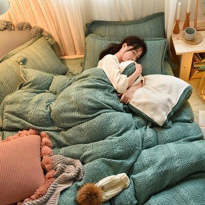 2019新款-亲肤针织毛线羊羔绒四件套 床单款四件套1.5m(5英尺)床 针织款-墨绿