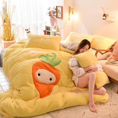 2019新款-羊羔绒大版贴布绣四件套 床单款四件套1.5m(5英尺)床 胡萝卜