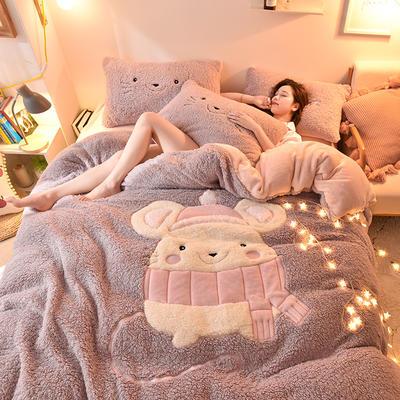 2019新款-羊羔绒大版贴布绣四件套 床单款四件套1.5m(5英尺)床 萌萌鼠