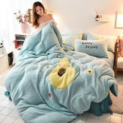 2019新款-羊羔绒大版贴布绣四件套 床单款四件套1.5m(5英尺)床 牛油果