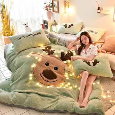 2019新款-羊羔绒大版贴布绣四件套 床单款三件套1.2m(4英尺)床 圣诞鹿