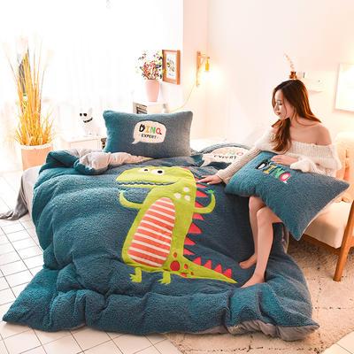 2019新款-羊羔絨大版貼布繡四件套 床單款四件套1.5m(5英尺)床 小恐龍