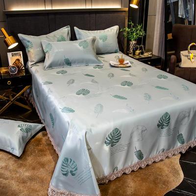 2020花边床单款600D提花冰丝凉席 1.2m(4英尺)床 蓝色心情
