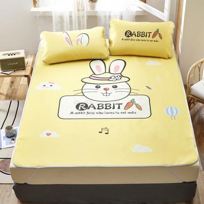 2020新款-凉席三件套卡通大版冰丝席 150*200cm三件套 香橙兔-黄