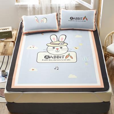 2020新款-凉席三件套卡通大版冰丝席 150*200cm三件套 香橙兔-灰