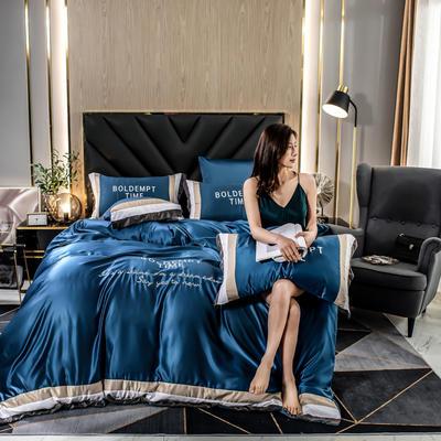 2020新款-字母刺绣真丝拼接四件套 床单款三件套1.2m(4英尺)床 水洗真丝套件-宾利兰